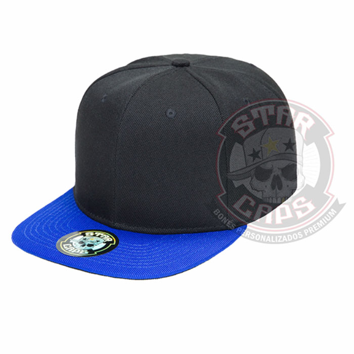 dbbb81990fd3d Boné Aba Reta SnapBack Preto  Aba Azul Star Caps