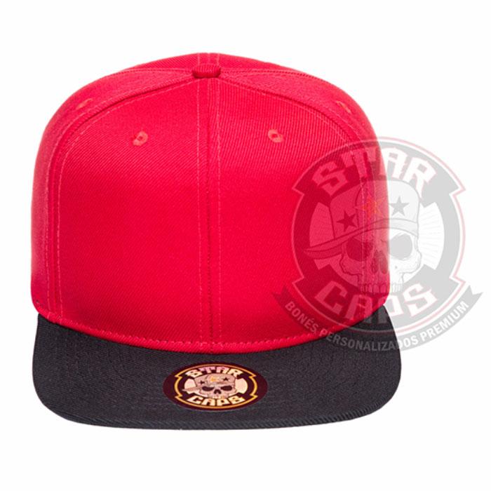 Boné Aba Reta SnapBack Vermelho Aba Preta Star Caps 3dd70d86fe3