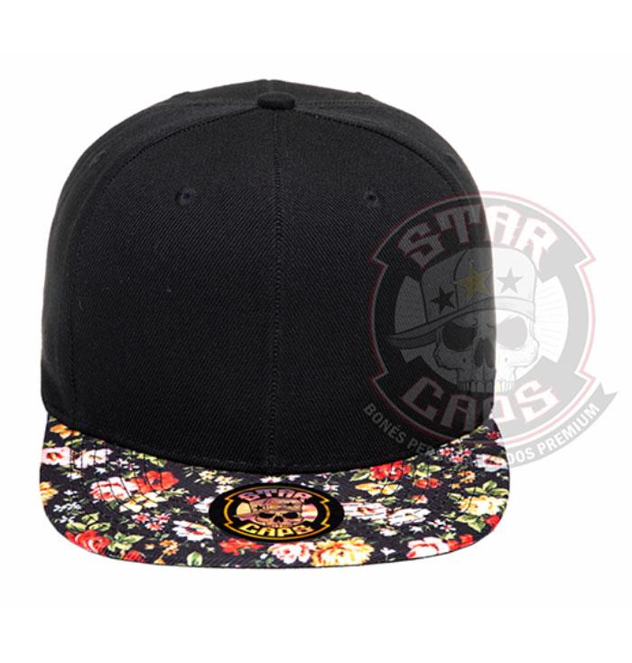 6a50daa697eb0 Boné Aba Reta Snapback Preto Floral Star Caps