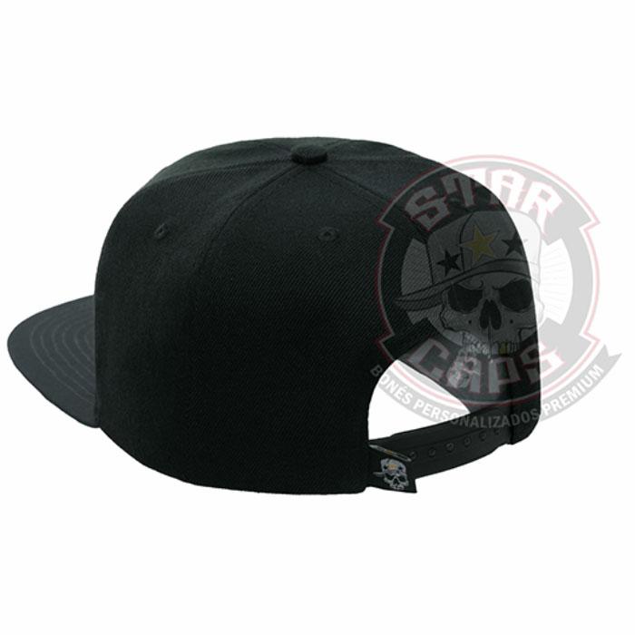 Boné Aba Reta SnapBack Preto Aba Cinza Star Caps 9e8cb44c4a6